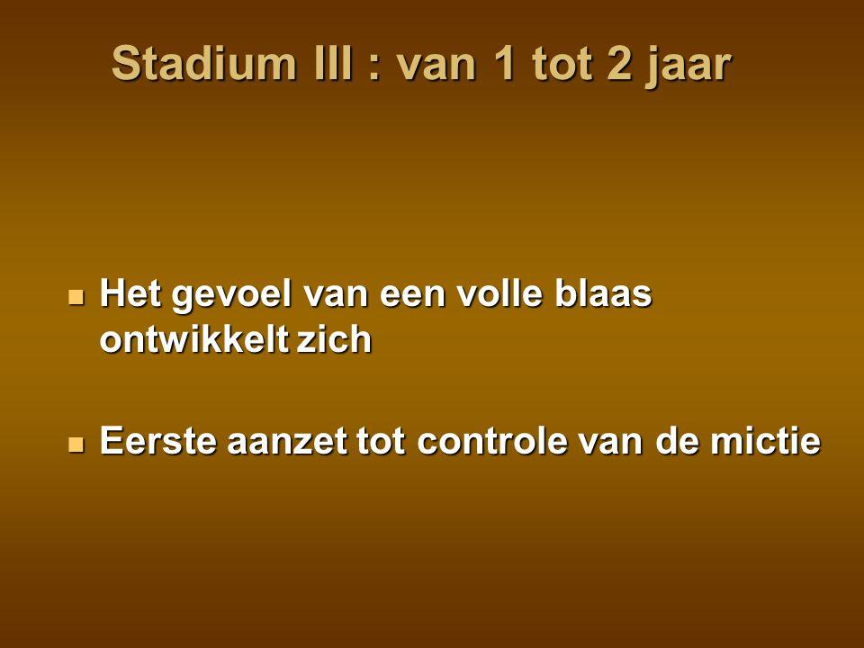 Stadium III : van 1 tot 2 jaar