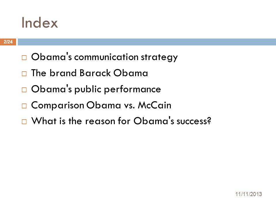 Index Obama s communication strategy The brand Barack Obama
