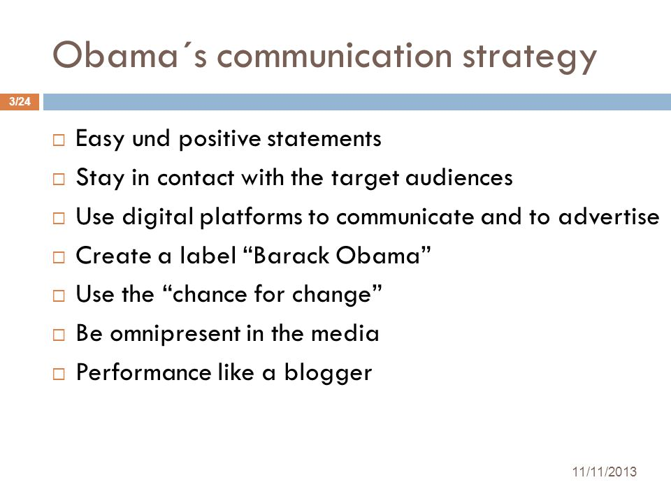 Obama´s communication strategy