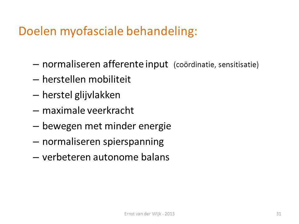 Doelen myofasciale behandeling: