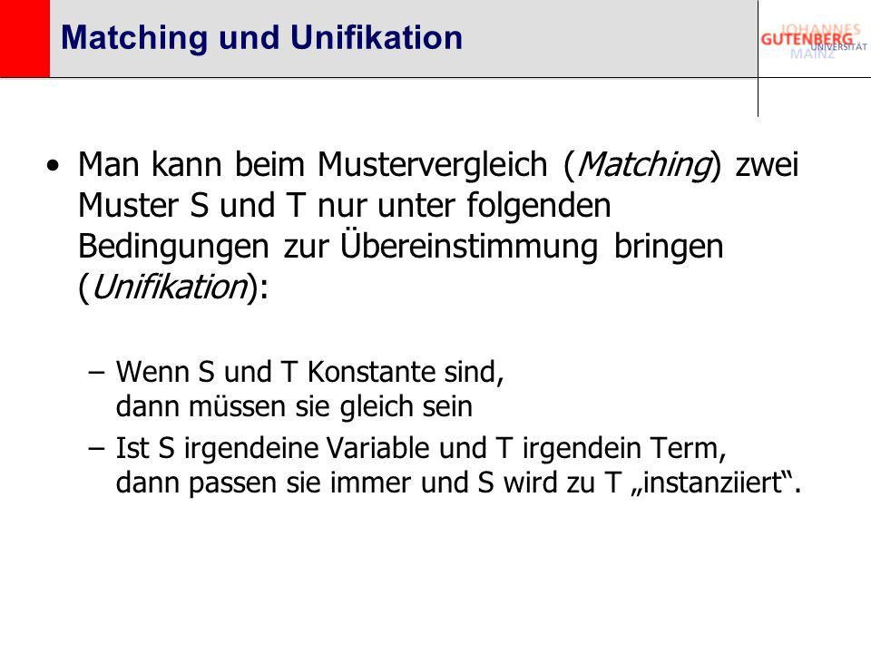 Matching und Unifikation