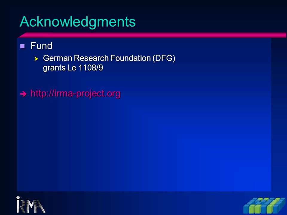 Acknowledgments Fund http://irma-project.org