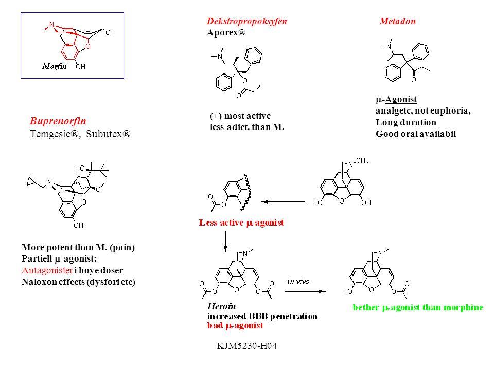 Buprenorfin Temgesic®, Subutex® Dekstropropoksyfen Aporex® Metadon