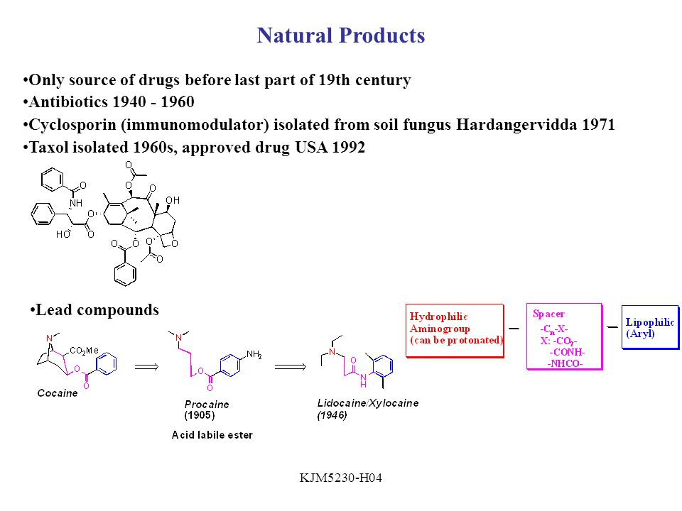 Natural Products Only source of drugs before last part of 19th century