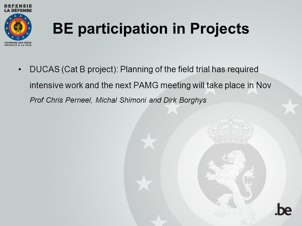 BE participation in Projects