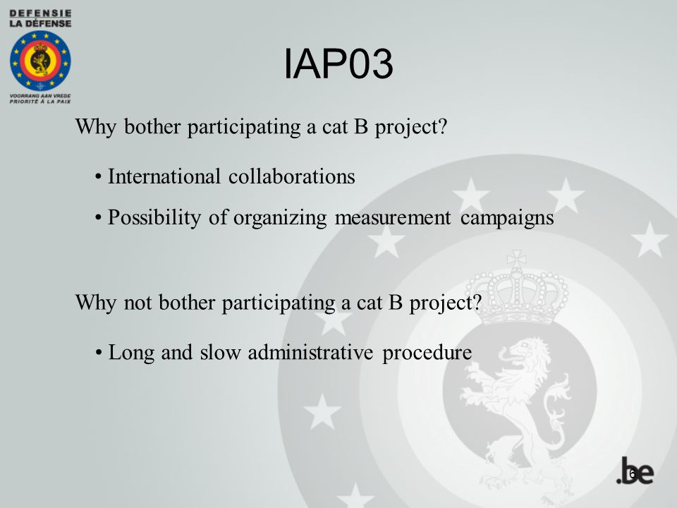 IAP03 Why bother participating a cat B project