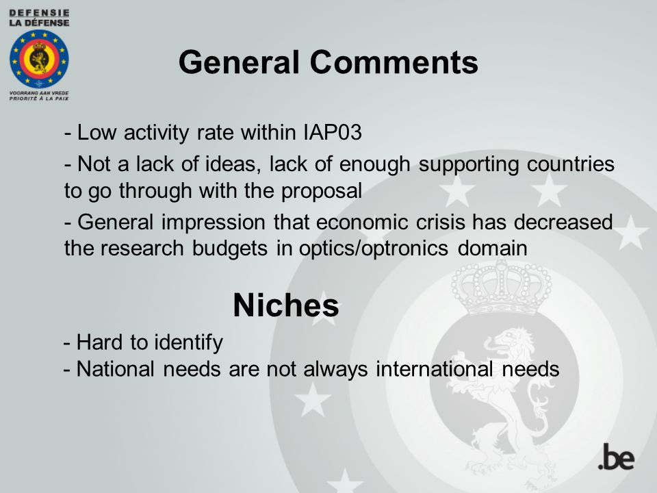 General Comments Niches