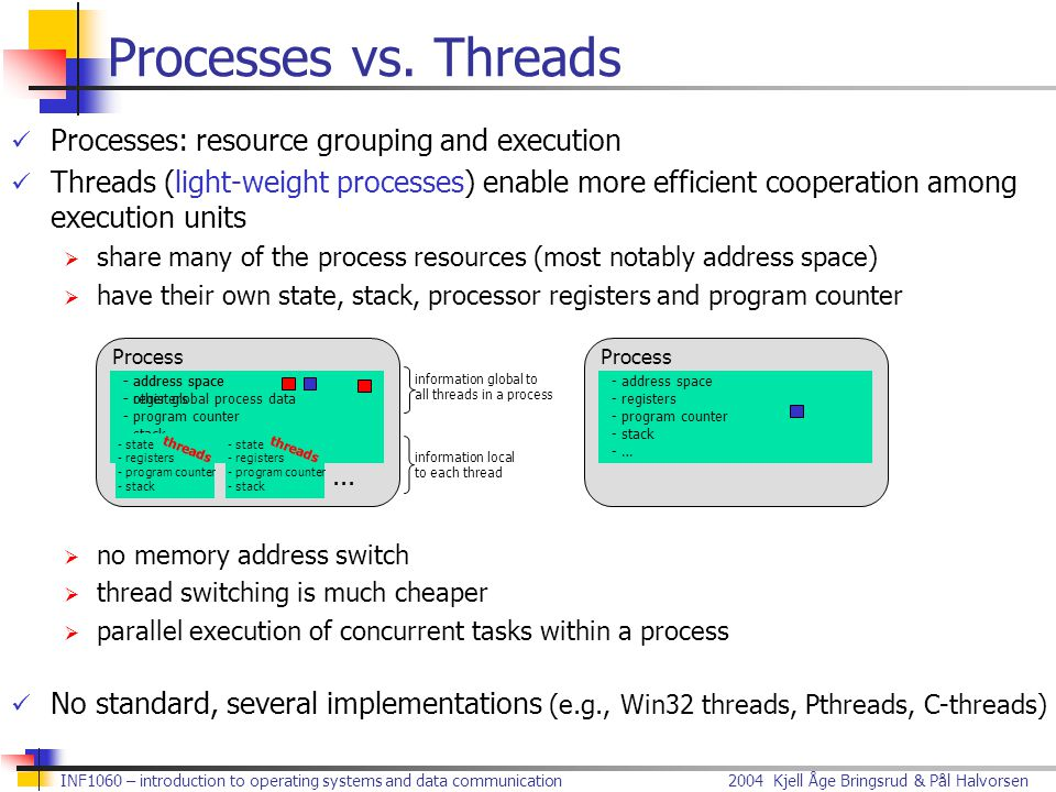 Processes vs. Threads Processes: resource grouping and execution