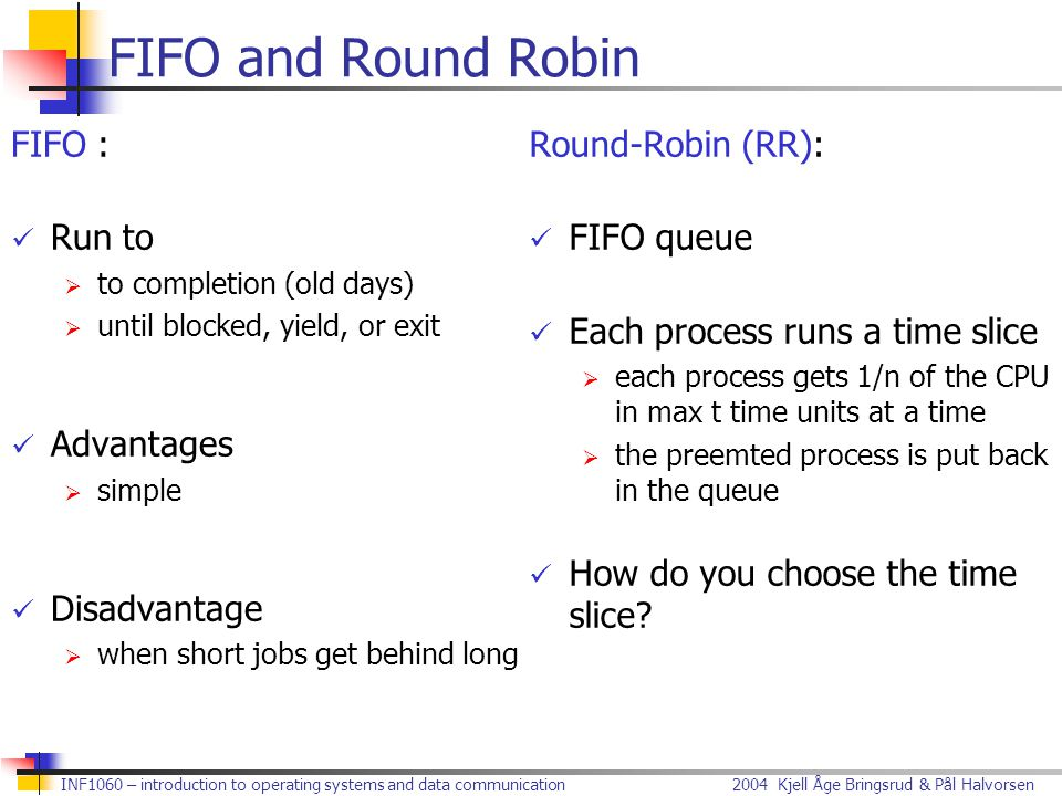 FIFO and Round Robin FIFO : Run to Advantages Disadvantage