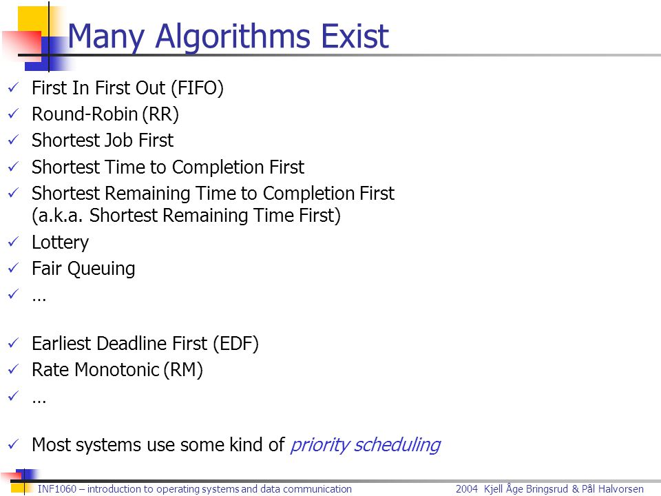 Many Algorithms Exist First In First Out (FIFO) Round-Robin (RR)