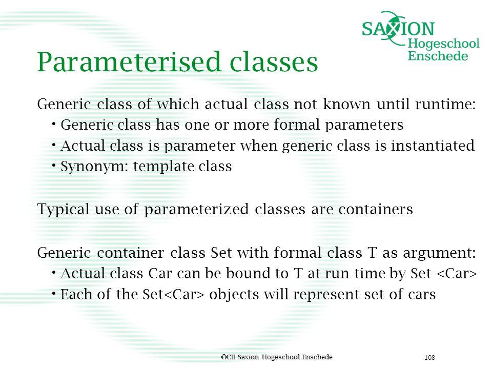 Parameterised classes