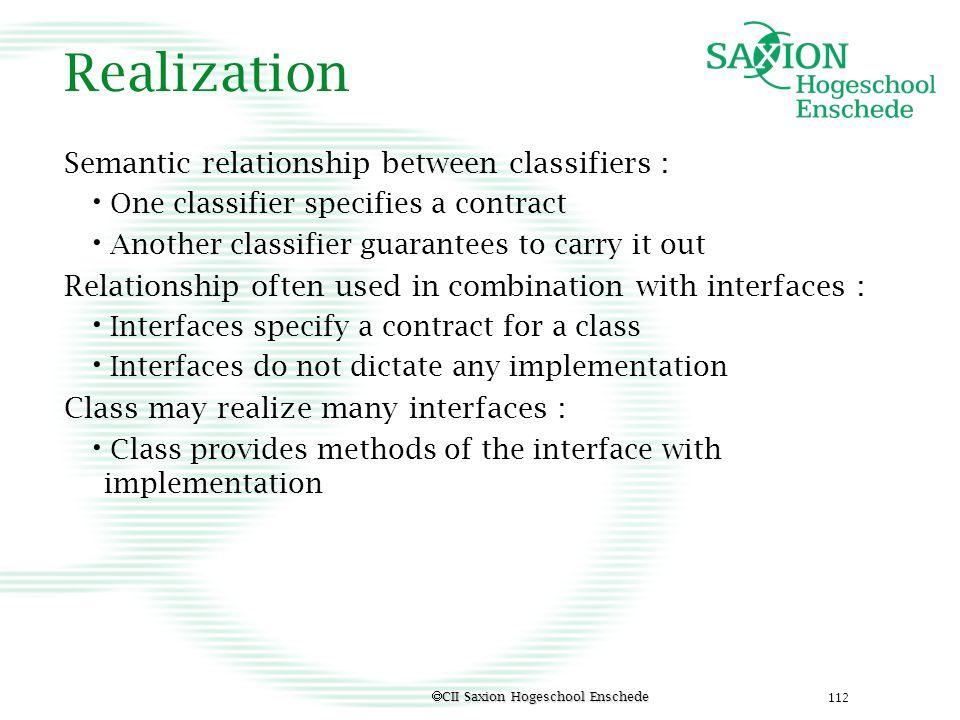 Realization Semantic relationship between classifiers :