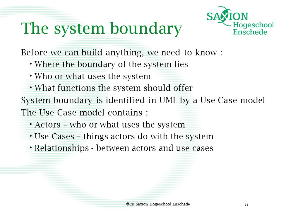 The system boundary Before we can build anything, we need to know :