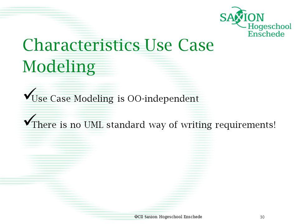 Characteristics Use Case Modeling