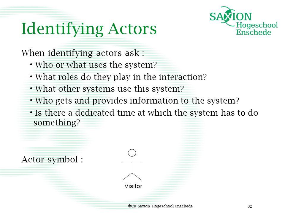 Identifying Actors When identifying actors ask : Actor symbol :