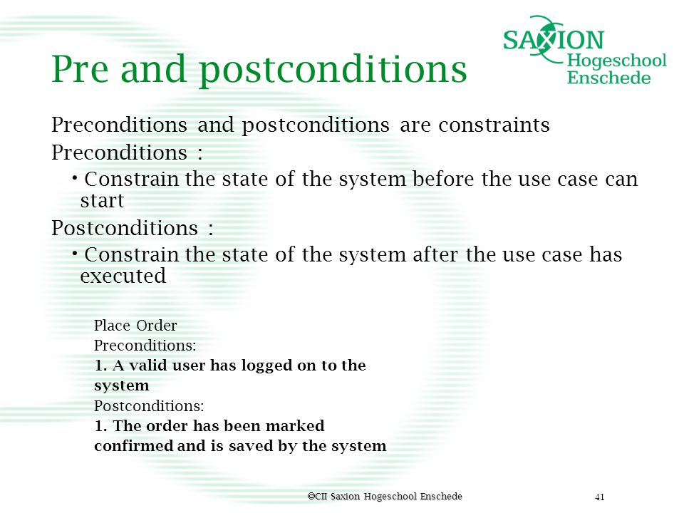 Pre and postconditions