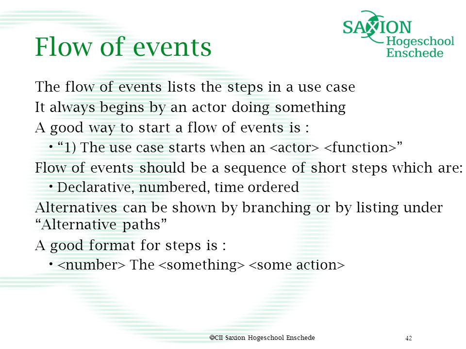 Flow of events The flow of events lists the steps in a use case
