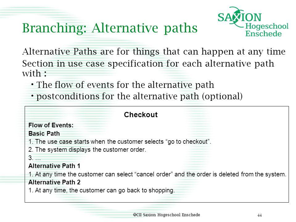 Branching: Alternative paths