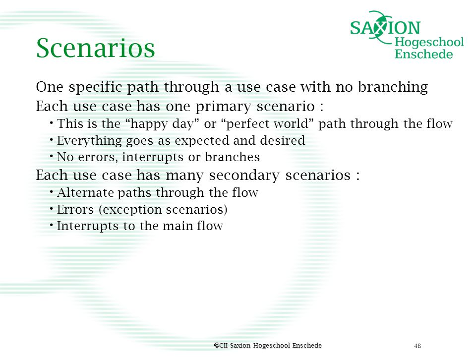 Scenarios One specific path through a use case with no branching