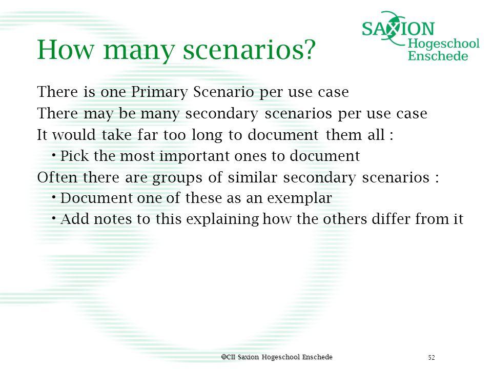 How many scenarios There is one Primary Scenario per use case