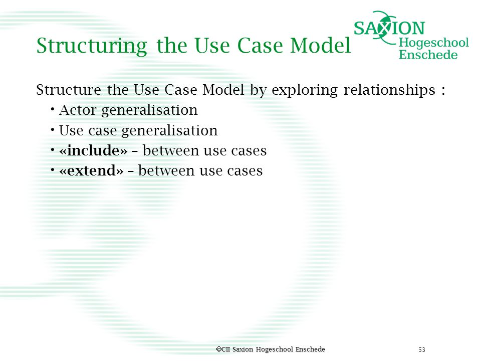 Structuring the Use Case Model