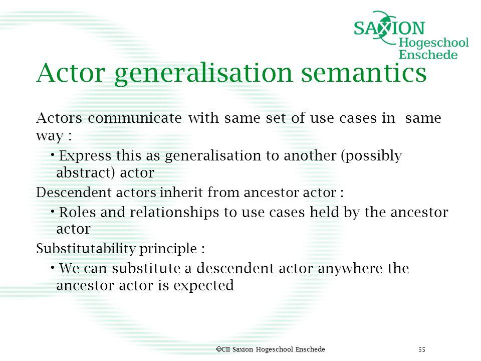 Actor generalisation semantics