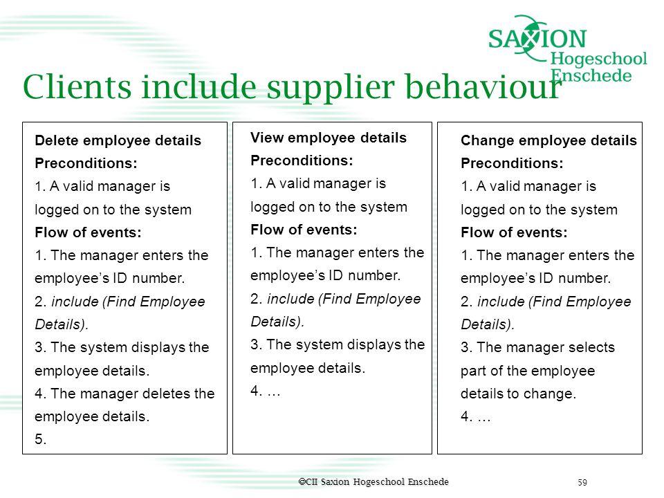 Clients include supplier behaviour