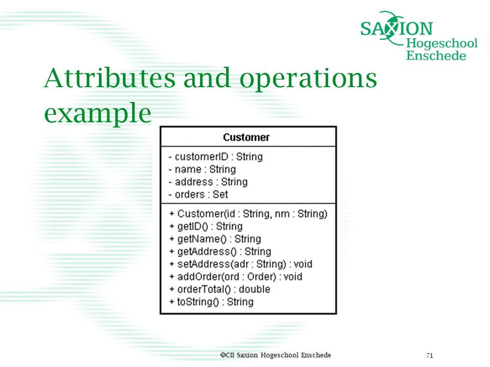 Attributes and operations example