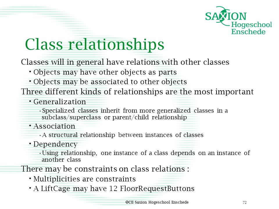 Class relationships Classes will in general have relations with other classes. Objects may have other objects as parts.