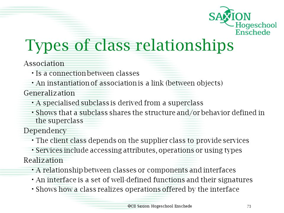 Types of class relationships