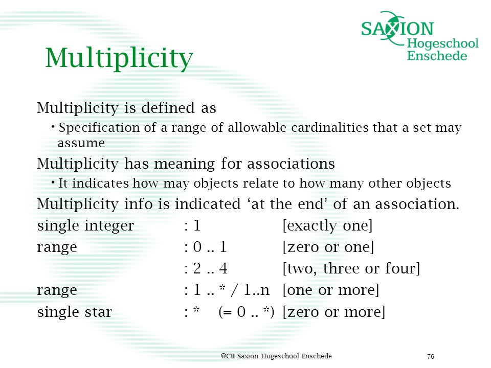 Multiplicity Multiplicity is defined as