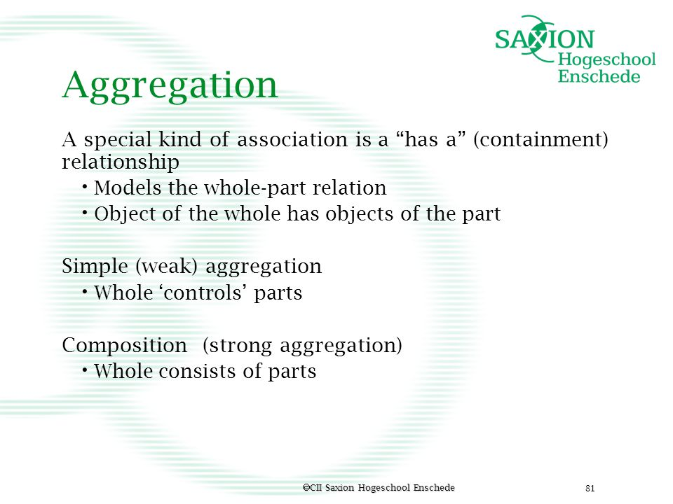 Aggregation A special kind of association is a has a (containment) relationship. Models the whole-part relation.