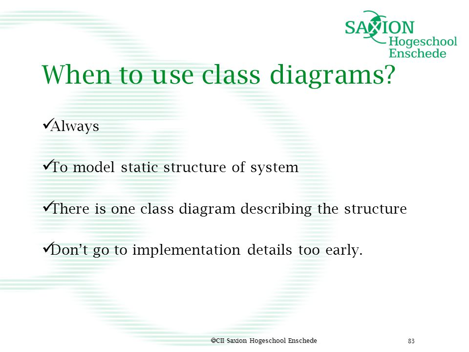 When to use class diagrams