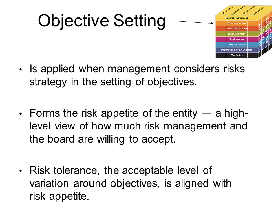 Objective Setting Is applied when management considers risks strategy in the setting of objectives.