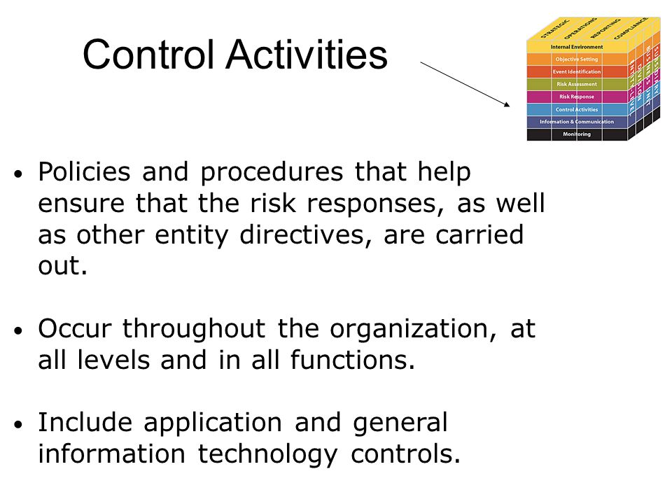 Control Activities Policies and procedures that help ensure that the risk responses, as well as other entity directives, are carried out.