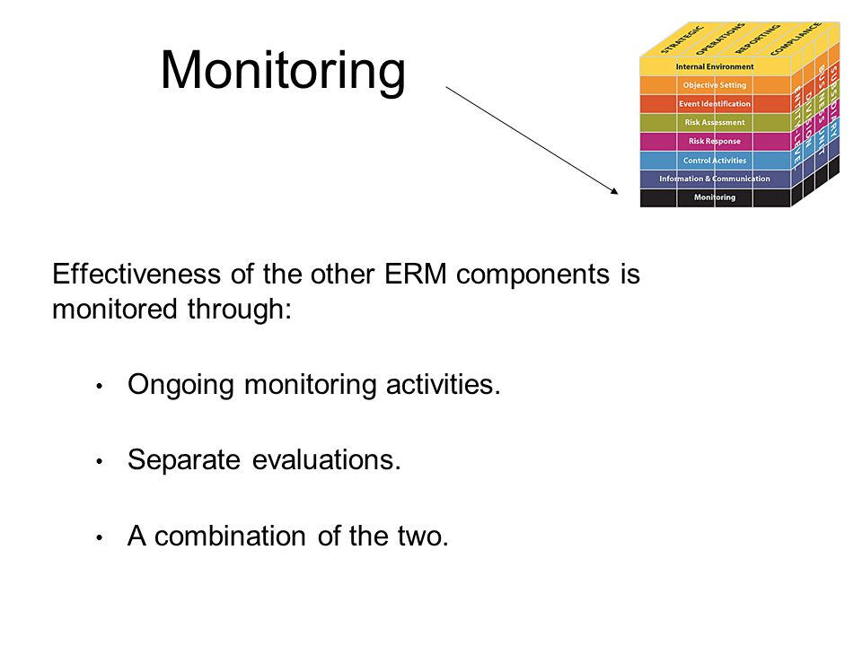 Monitoring Effectiveness of the other ERM components is monitored through: Ongoing monitoring activities.