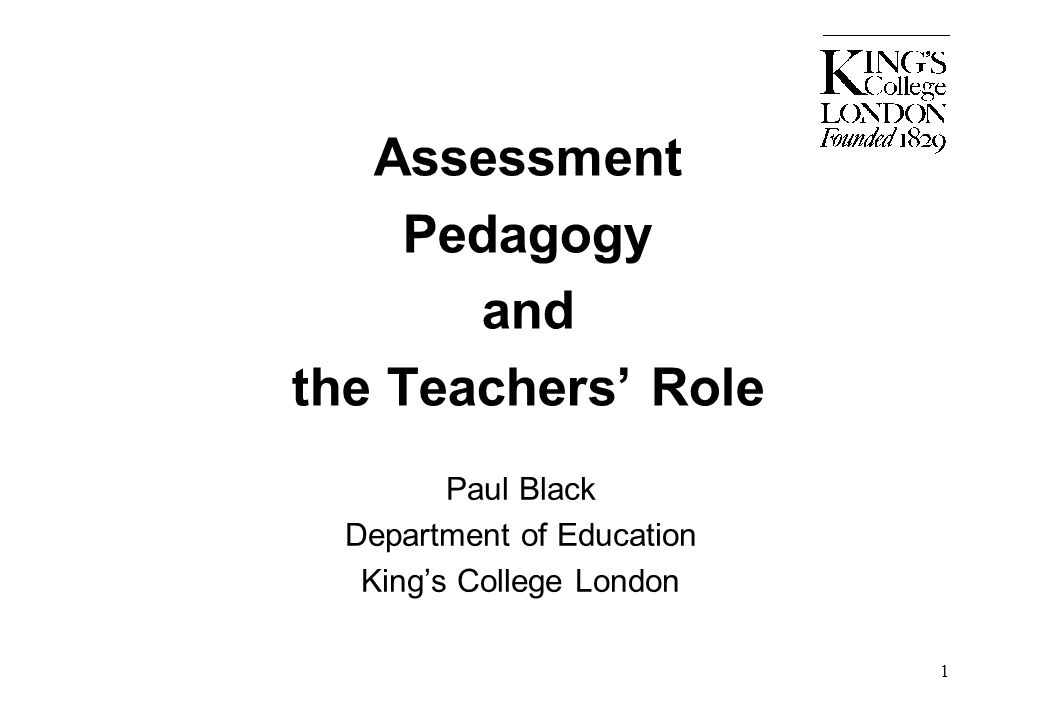 Assessment Pedagogy and the Teachers' Role