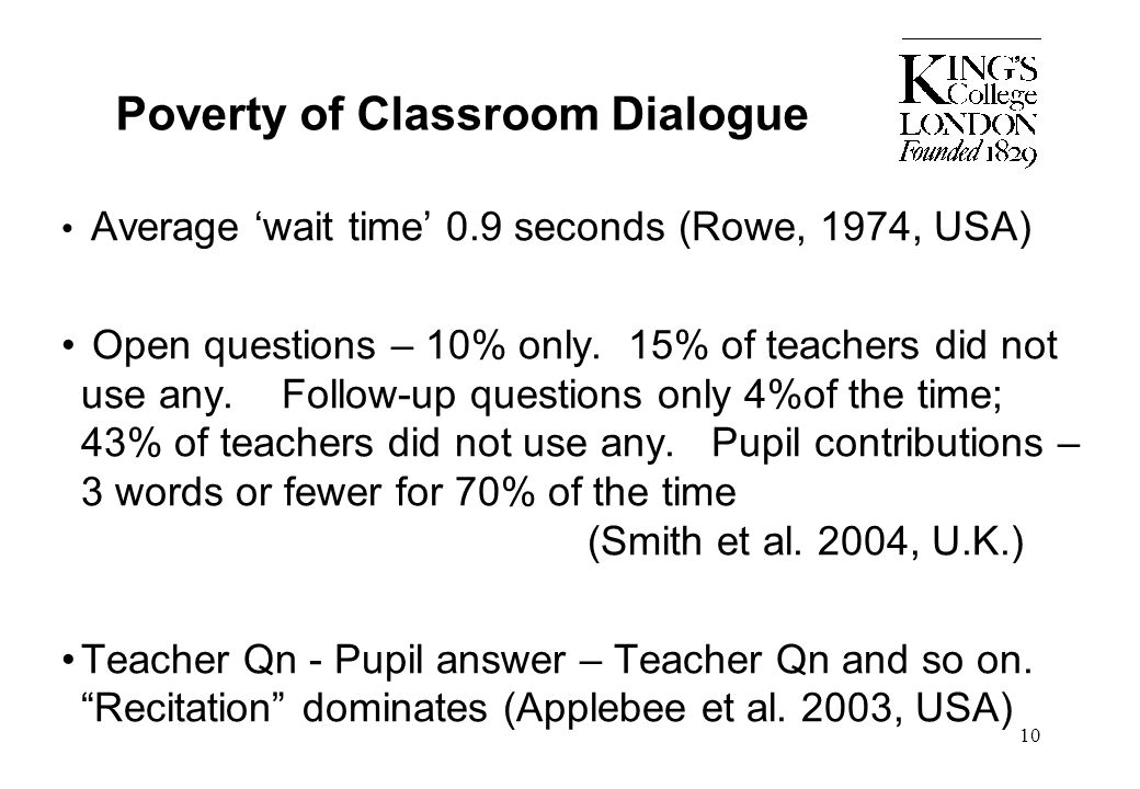 Poverty of Classroom Dialogue