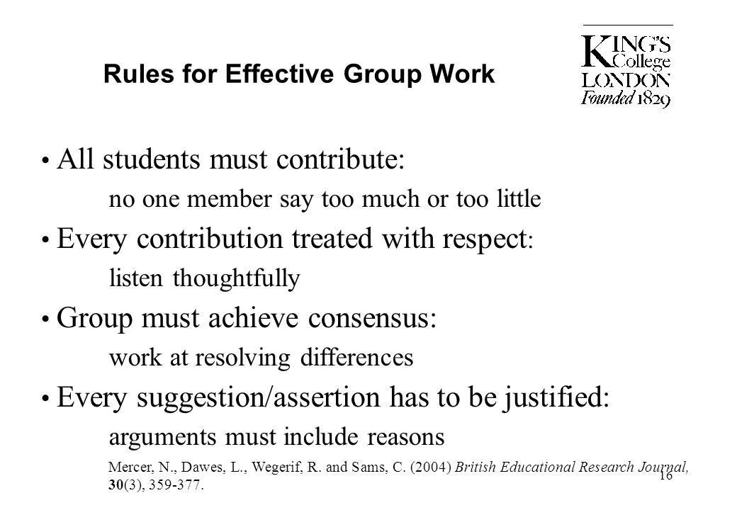 Rules for Effective Group Work