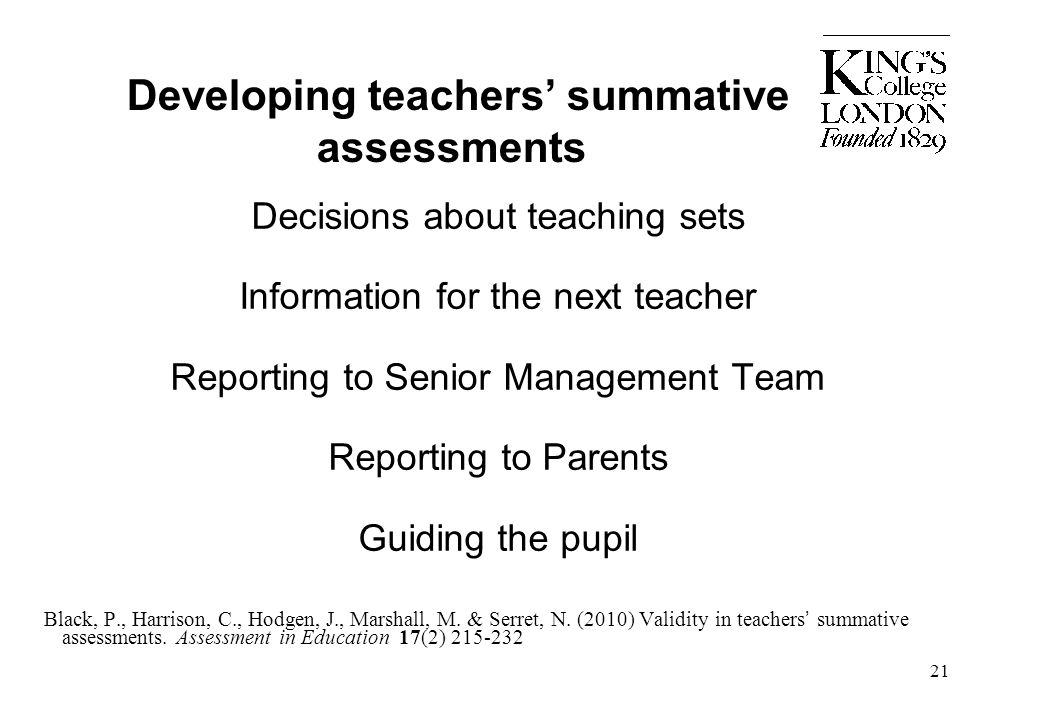 Developing teachers' summative assessments