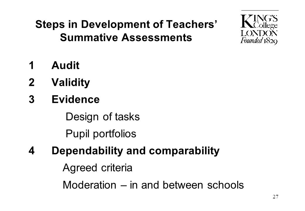 Steps in Development of Teachers' Summative Assessments
