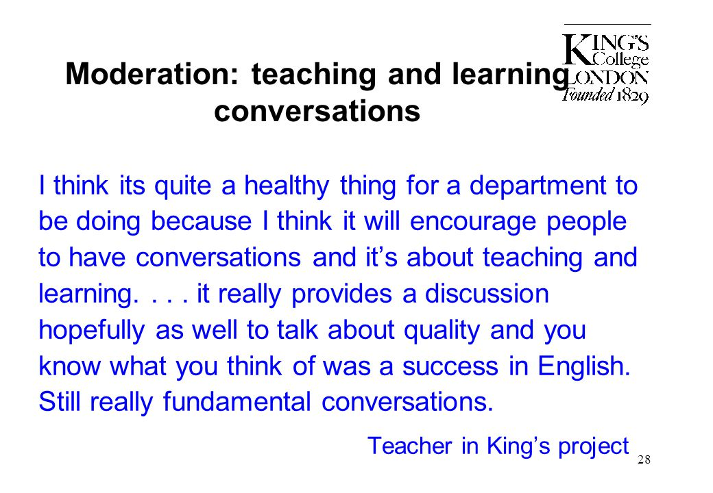 Moderation: teaching and learning conversations