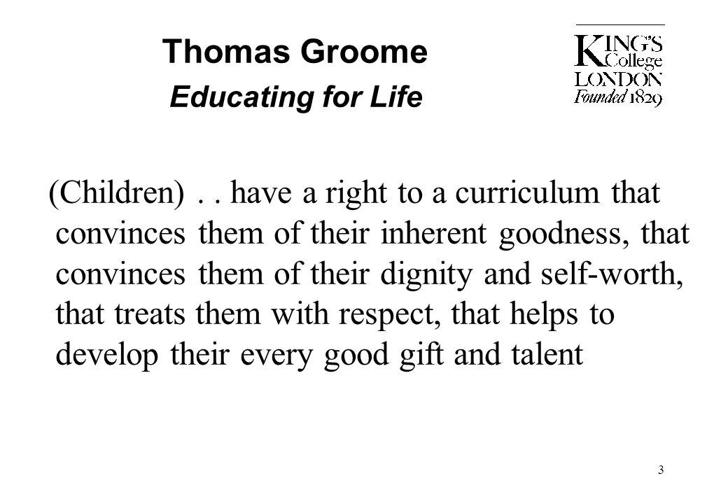Thomas Groome Educating for Life