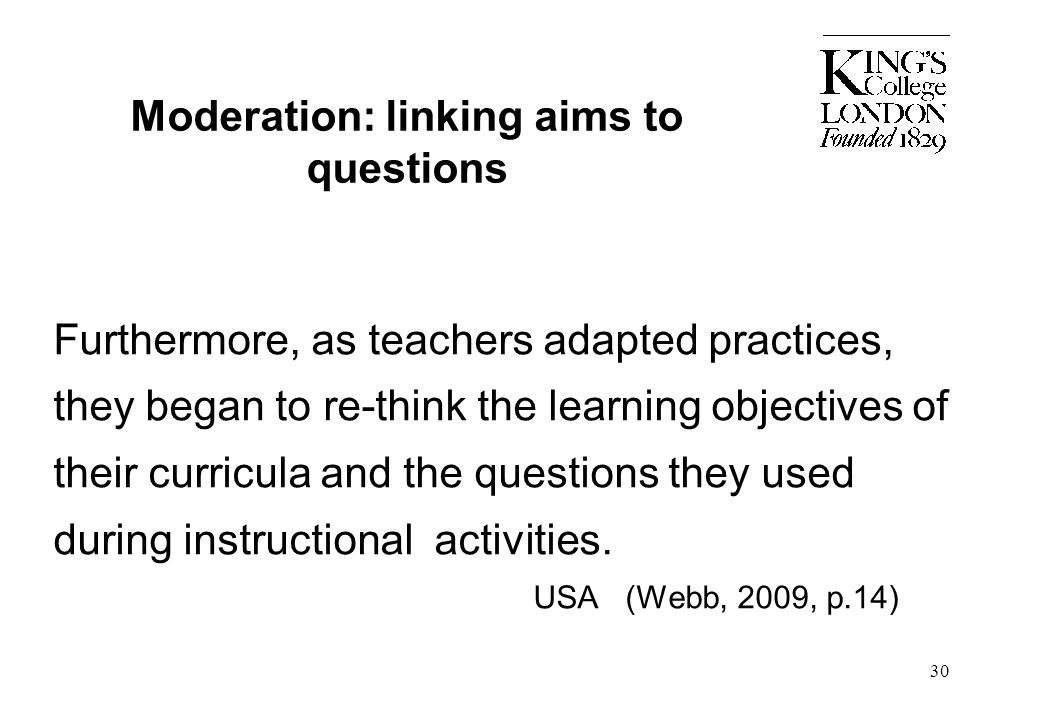 Moderation: linking aims to questions
