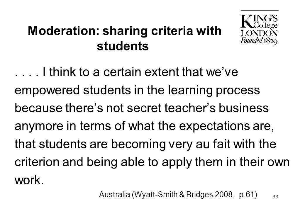 Moderation: sharing criteria with students