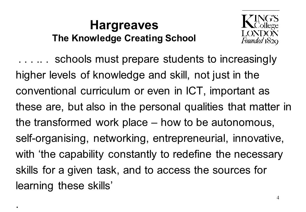 Hargreaves The Knowledge Creating School