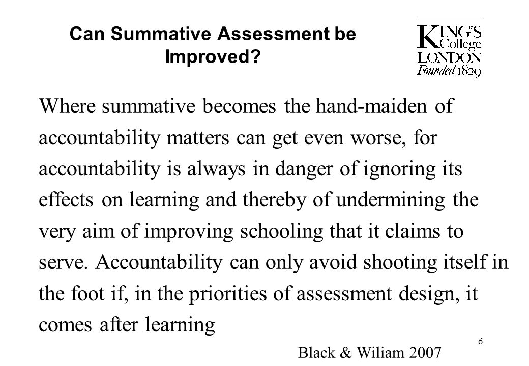 Can Summative Assessment be Improved