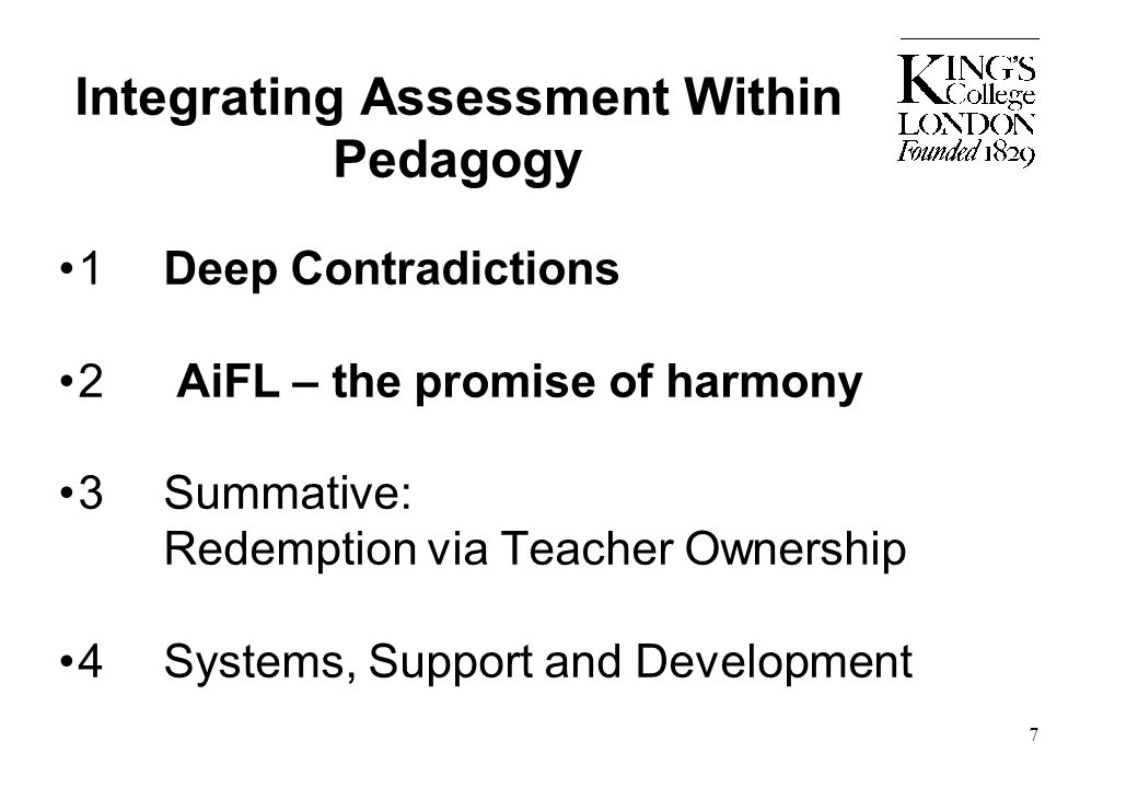 Integrating Assessment Within Pedagogy