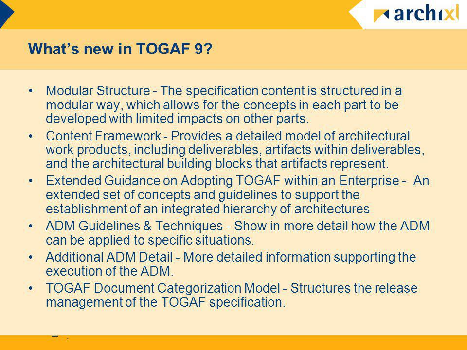 What's new in TOGAF 9