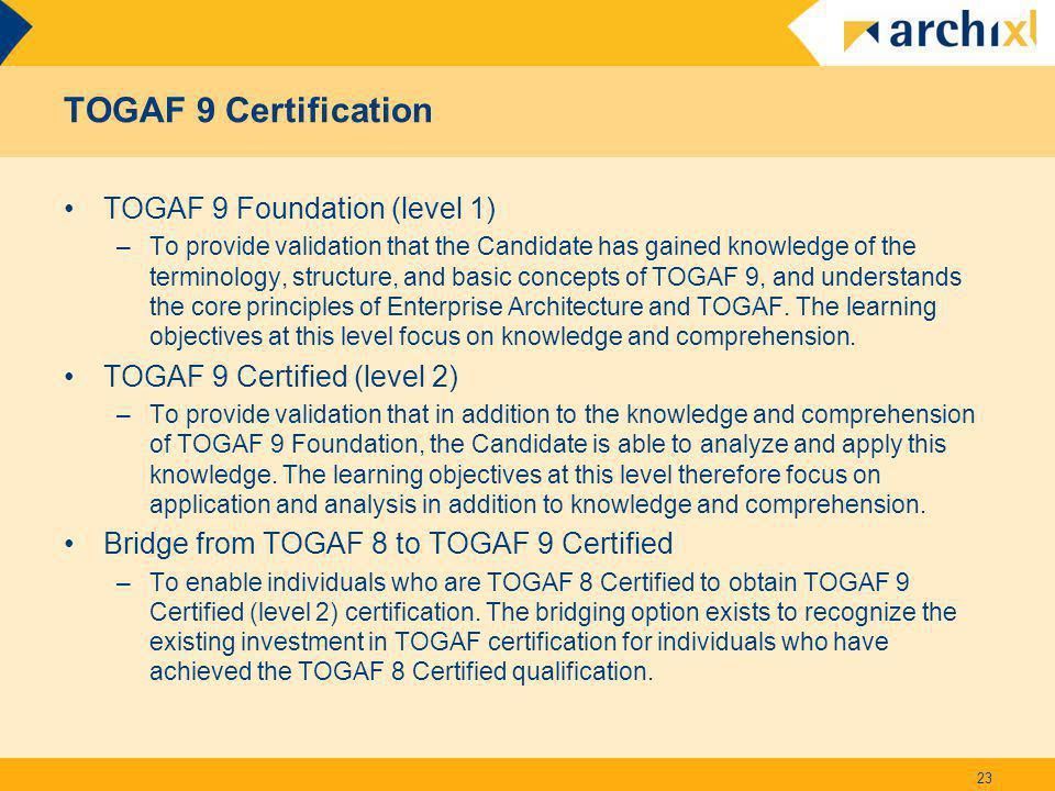 TOGAF 9 Certification TOGAF 9 Foundation (level 1)